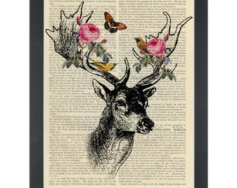 Dictionary Art-Deer Roses And Bird