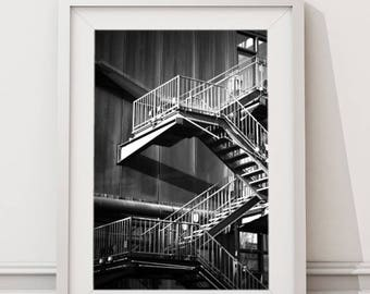 Metal Stairs, Abstract Architecture Urban Street Photography | Large Printable Modern Minimalist Art | Black and White Architectural