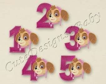 SALE! SET Paw Patrol Skye Numbers applique embroidery design, Paw Patrol Embroidery Designs, Embroidery designs baby, Instant download #045