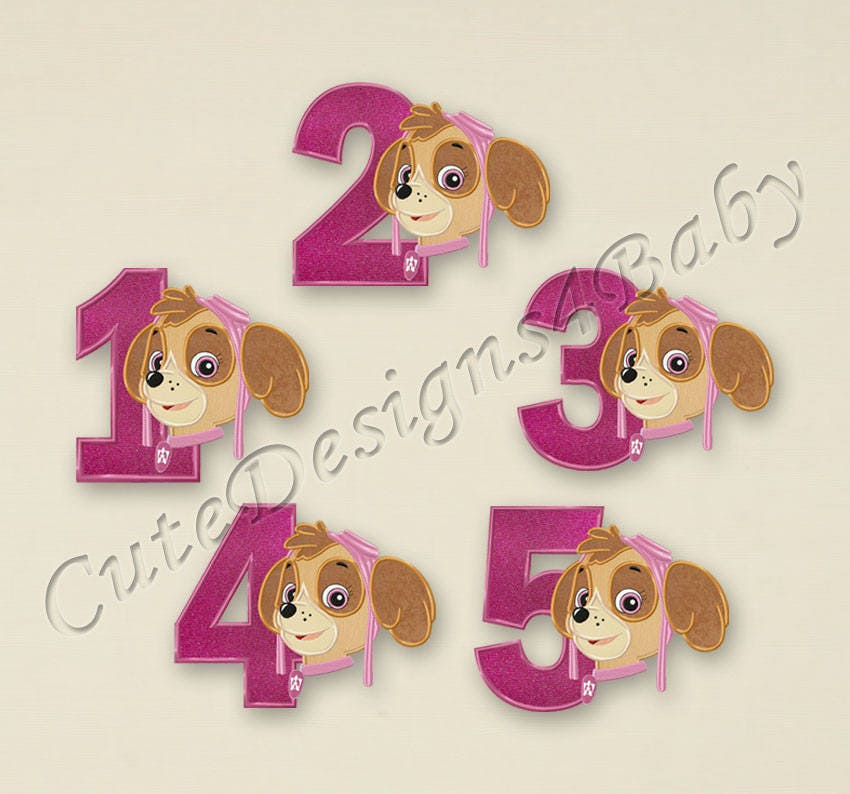 Sale set paw patrol skye numbers applique embroidery