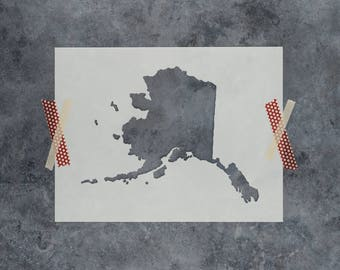 Alaska State Stencil - Hand Drawn Reusable Mylar Stencil Template