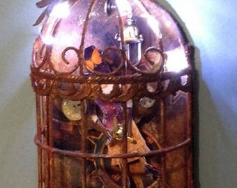Steampunk Rusted Fairy Birdcage w Fairy Lights Altered Art Mixed Media Assemblage