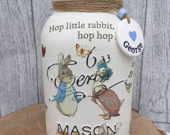 Handmade Beatrix Potter- Peter Rabbit Mason- Baby Gift- Nursery- Birthday
