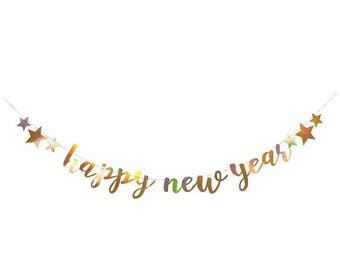 Iridescent Happy New Year Garland, New Year's Eve Lettering Bunting, happy new year Hanging Garland Party Décor