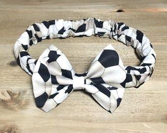 Soccer Headband- Soccer Bow; Soccer Hair Bow; Soccer Outfit; Soccer Headwrap; Toddler Headband; Newborn Headband; Girls Headband; Hair Bows