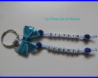 key 2 names blue and dark blue with turquoise bow