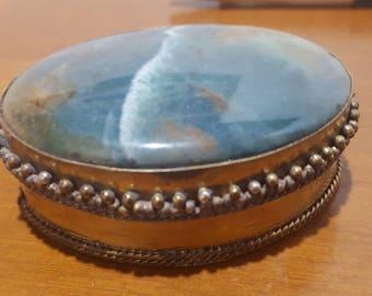 Vintage Handmade Stone Trinket Box