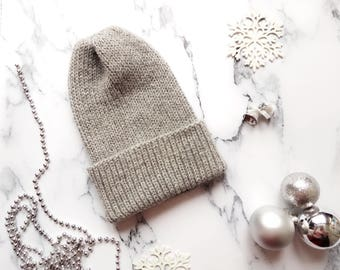 Simple alpaca Hat Grey hat Casual hat for women