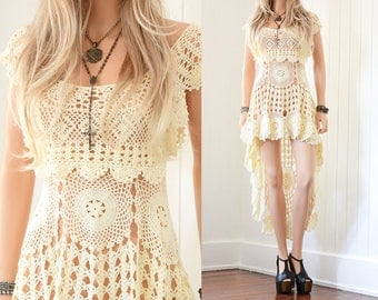 Crochet Lace Wedding Dress Boho Wedding Dress Lace Wedding Dress Bohemian Wedding Dress Vintage Crochet Dress Lace Dress Boho Dress xs