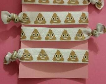 Set of 4 poop emoji elastic Hair ties