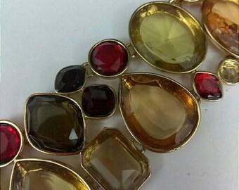 Green Gold Black Cabochon Bracelet, Multicolor Link Bracelet,  Statement Bracelet, Accessories, Fashion Jewelry, Boutique