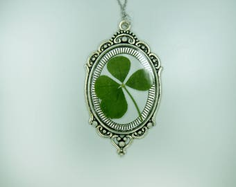Genuine 4 Leaf Clover Cameo Necklace [LC 036] / Stainless Steel / White Clover Pendant / Triforium Repens Gift / Good Luck Charm
