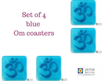 Set of 4 Om coasters, indigo on light blue blend, handmade fused glass, drinks coaster, spiritual gift, blue decor