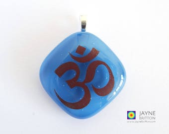 Om symbol pendant, gift for Yoga teachers, turquoise jewellery, fused glass, third eye chakra, spiritual, yoga jewelry, meditation necklace