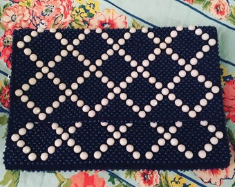 Vintage Hong Kong Mr. Jonas Blue and White Geometric Beaded Clutch