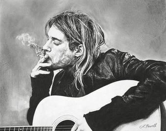 "Kurt Cobain Charcoal Drawing Print 8""x10"" (Limited Edition)"