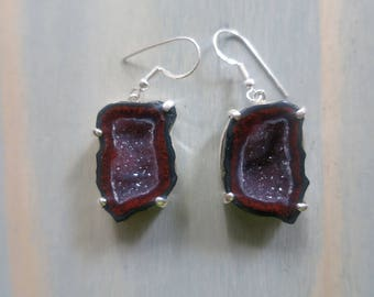 Tobasco Geode Hook earrings with crystals in Sterling Silver