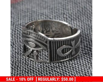 Egyptian Ring/ Ankh Ring / Eye of Horus Ring with striped black and silver enamel / Egyptian Jewelry