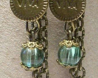 BRONZE FANCY DANGLE EARRINGS