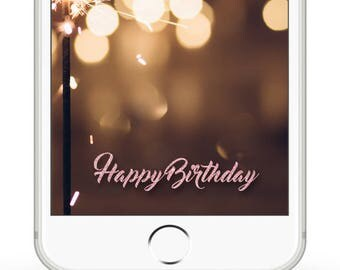 Happy Birthday Pink Glitter Snapchat Filter [[instant download]]