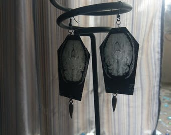 Coffin MRI Earrings with Spike Dangle