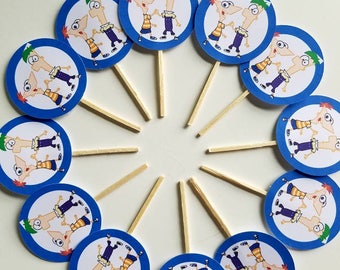 Phineas and ferb cupcake toppers. Phineas and ferb birthday party decor