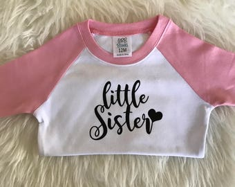 Little sister shirt pink raglan little sister shirt little sister big sister big sis little sis baby girl shirt little sis shirt