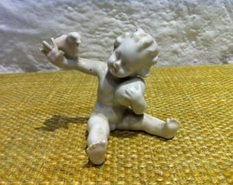 DCGC Import Bisque Angel Cherub Figurine Sitting By Tree San
