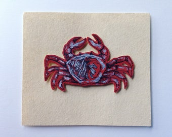 Handmade Ink Pen Card, Crab