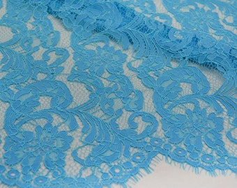 Blue Flower Lace Fabric Lace Trim 59.05 Inches Wide 1.64 Yards/ Craft Supplies,   WL1453