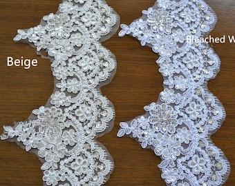 Bleached White Trim Lace,Lace Trim for Bridal Veil, Wedding Lace   Trim, 5.51 Inches Wide 1.09 Yards/ Craft Supplies, WL775
