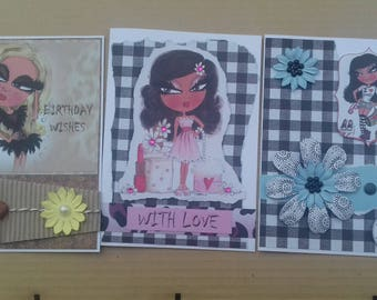 Set of 3 female cards * Scruffy Little Cat * Teenage girl birthday * Daughter * Granddaughter * Sister * Niece * Cousin * Friend