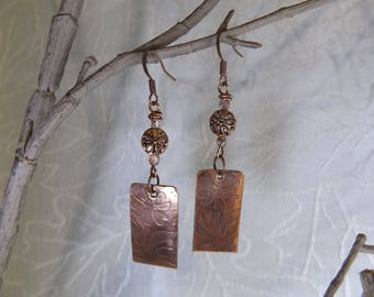 Shadow Etched Copper Earrings