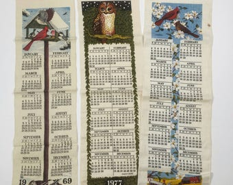 Vtg Song Bird & Owl Calendar Tea Towels, Decorative Vintage Linen Calendar Towels, Birder Birdwatcher Gift, 1977 and 1969
