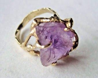 Estate 14k Gold HEAVY Custom Genuine Amethyst Gemstone Ring sz 8.5 Large 8.2g 14kt 14 Kt K Vintage Hand Made Artists Cast Raw Boulder Gem