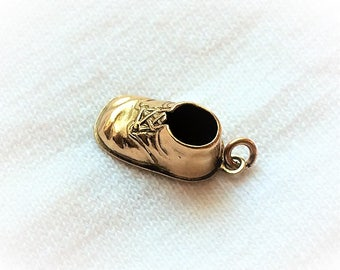 Estate 14k Gold Baby Bootie Shoe Charm or Pendant 3D Solid 14kt Marked 14 k kt Christening Birthday New Born Boy Girl Vintage Child Shoes