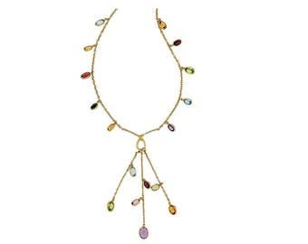 "Estate 18k HEAVY Yellow Gold Gemstone Dangle Tassel Station Necklace Chain 17"" long 12.3g Marked 750 18 k kt 18kt Genuine Solid New Looking"