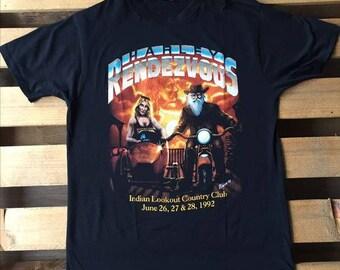 1990's Vintage Harley Rendezvous t-shirt, harley davidson, biker, black, t-shirt, retro, vtg, hd, motorcycle, 90's, sky, indian, american