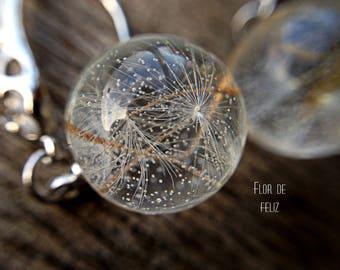 Dandelion Seed Earrings, Resin jewelry dandelion, Sphere earrings, Terrarium earrings, Nature Jewelry, Eco jewelry, Real dandelion