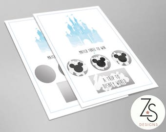 Disney World Holiday / Disney Land Holiday - Scratch Reveal Card - Match 3 to Win or 4 the Same - Cinderella Castle - A6 Print
