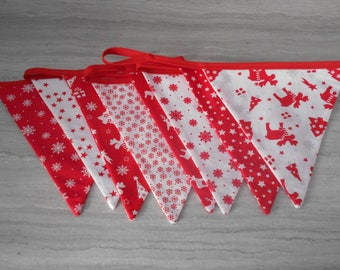 Red and white pennant Garland 2 meters approx
