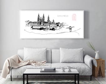 Camino de Santiago, Way of Saint James, Santiago, Santiago drawing, Santiago de Compostela, The Way, decoration, decor, wall poster