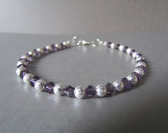 Slim Dainty Friendship, Surfer Stacker Swarovski & Stardust Bead Bracelet Very Sparkly!!