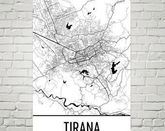 Tirana Map, Tirana Art, Tirana Print, Tirana Albania Poster, Tirana Wall Art, Albanian Gifts, Map of Albania, Albanian Art, Albania Map