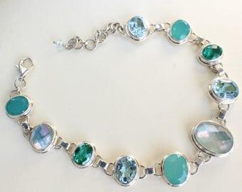 Chrysoprase Bracelet Blue Topaz Green Quartz Quartz capped Abalone Shell Link Sterling Silver