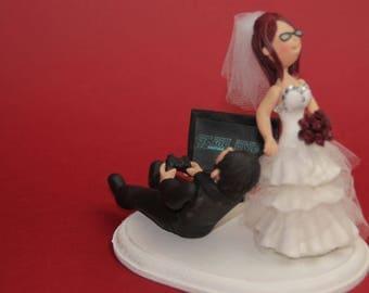 Bride dragging the groom,  Video game/ ps3, ps4, nitendo, Xbox crazy groom Custom wedding cake topper. Wedding keepsake. The bride and groom