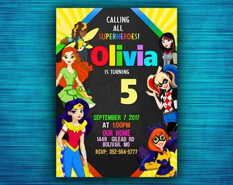 DC Superhero Girl Invitation - DC Superhero Girl Birthday - DC Superhero Girl Party - Superhero Girl Card -