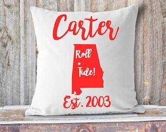 Roll Tide Pillow, College Pillow, Dorm Room Pillow, Crimson Tide, Alabama Pillow, Tuscaloosa, Rammer Jammer, Family Pillow