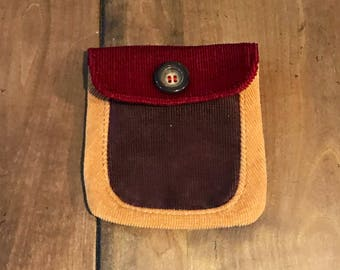 Vintage Corduroy Coin Purse - Beautiful 70s 80s Coin Purse, Cash Holder - Small Purse