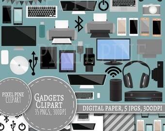 Gadgets Clipart, Technology themed 35 PNGs, 5 Gadget Digital Paper JPGs, Commercial Use, Computer gadget clipart, laptop, phone clipart grey